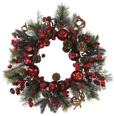 4677 Apple & Berry Artificial Holiday Wreath by Nearly Natural | 22 inches
