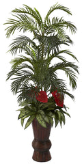 6722 Palm Anthurium Silver Queen Silk Arrangement by Nearly Natural | 58""