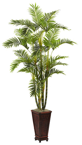 5923 Areca Palm Artificial Silk Tree w/Planter by Nearly Natural | 6.5 feet