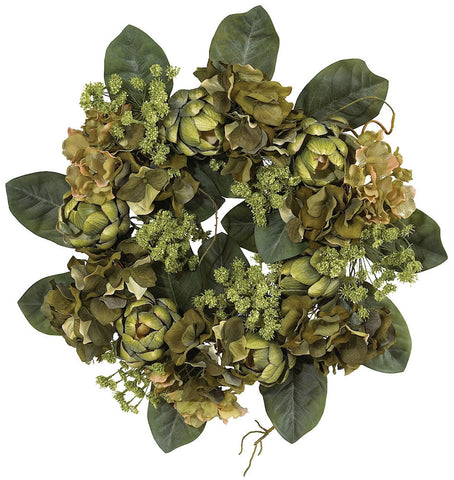 4628 Artichoke Artificial Silk Wreath by Nearly Natural | 18 inches