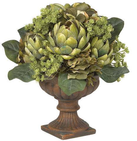 4635 Artichoke Silk Flower Arrangement w/Urn by Nearly Natural | 14 inches