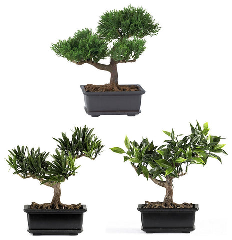 4122 Artificial Set of 3 Bonsai Trees by Nearly Natural | 8.5 inches wide