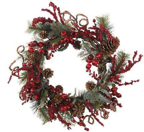 4838 Assorted Berry Silk Holiday Wreath by Nearly Natural | 24 inches