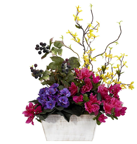 1270 Azalea & Mixed Floral Silk Arrangement by Nearly Natural | 21 inches