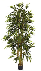 5362 Bamboo Artificial Silk Tree with Planter by Nearly Natural | 6 foot
