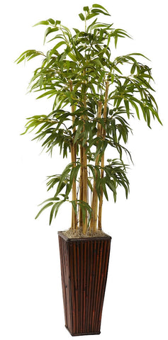 6737 Bamboo Artificial Silk Tree with Planter by Nearly Natural | 4 ft
