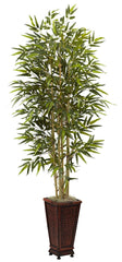 5922 Bamboo Artificial Silk Tree with Planter by Nearly Natural | 6'