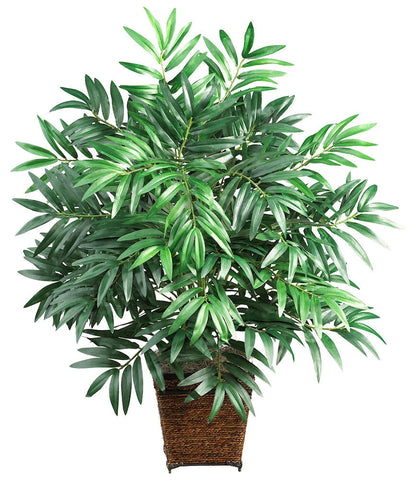 6556 Bamboo Palm Silk Plant with Planter by Nearly Natural | 32 inches