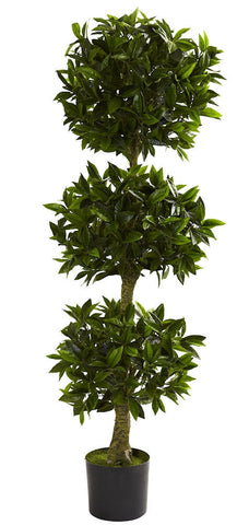 5381 Bay Leaf Indoor Outdoor Silk 3 Ball Topiary by Nearly Natural | 5 feet