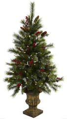 5371 Berry & Pine Cone Christmas Tree w/Lights by Nearly Natural | 4 feet