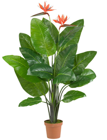 6576 Bird of Paradise Silk Plant w/Planter by Nearly Natural | 58 inches