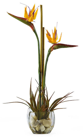 1052 Bird of Paradise Silk Flowers in Water by Nearly Natural | 19 inches