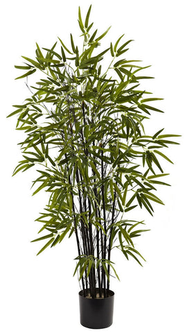 5417 Black Bamboo Artificial Tree with Planter by Nearly Natural | 4 feet