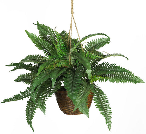 6599 Boston Fern Silk Plant w/Hanging Basket by Nearly Natural | 29 inches