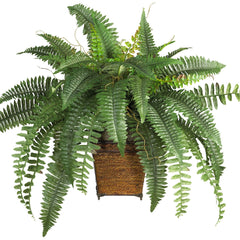 6549 Boston Fern Silk Plant with Planter by Nearly Natural | 23 inches