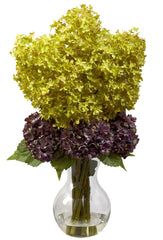 1304 Silk Bostonian Hydrangea in Faux Water by Nearly Natural | 25 inches
