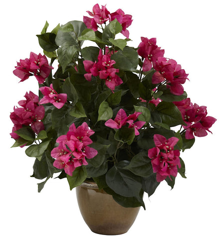 6730 Bougainvillea Silk Plant with Planter by Nearly Natural | 19 inches