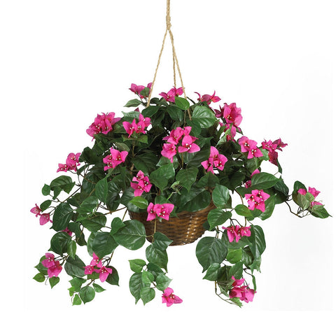 6608 Pink Bougainvillea Silk w/Hanging Basket by Nearly Natural | 32 inches