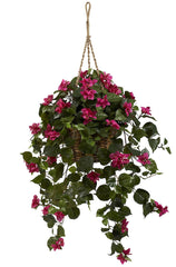 6734 Bougainvillea Silk Hanging Wicker Basket by Nearly Natural | 30 inches