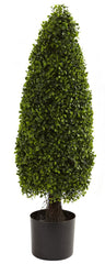 5412 Boxwood Indoor Outdoor Silk Cone Topiary by Nearly Natural | 3 feet