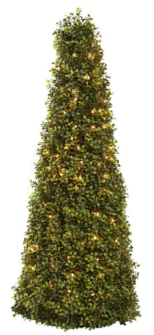 5921 Boxwood Silk Cone Topiary with Lights by Nearly Natural | 39 inches