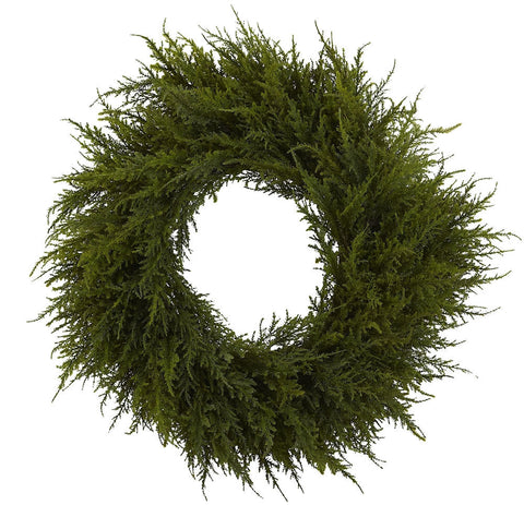 4952 Cedar Artificial Silk Holiday Wreath by Nearly Natural | 24 inches