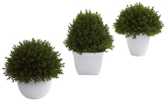 4977-S3 Cedar Set of 3 Silk Ball Topiary Plants by Nearly Natural | 6.5 inches