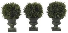 4761 Cedar Set of 3 Silk Ball Topiary Plants by Nearly Natural | 8.5 inches