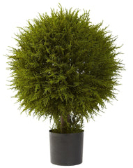 5918 Cedar Silk Ball Topiary Plant w/Planter by Nearly Natural | 32 inches