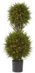 5916 Cedar Silk Double Ball Topiary w/Lights by Nearly Natural | 40 inches