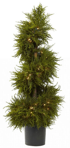 5915 Cedar Silk Spiral Topiary with Lights by Nearly Natural | 43 inches