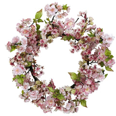 4783 Cherry Blossom Artificial Silk Wreath by Nearly Natural | 24 inches