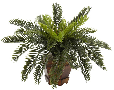 6657 Cycas Artificial Silk Plant with Planter by Nearly Natural | 15 inches