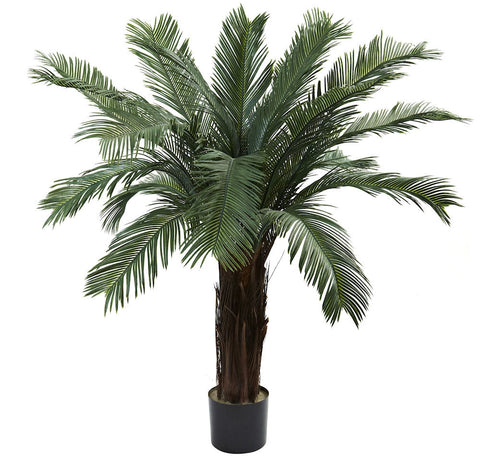 6769 Cycas Indoor Outdoor Silk Tree with Planter by Nearly Natural | 4 feet