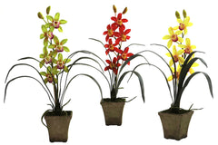 4066-AS-S3 Cymbidium Orchid Set/3 Silk Plants by Nearly Natural | 19 inches
