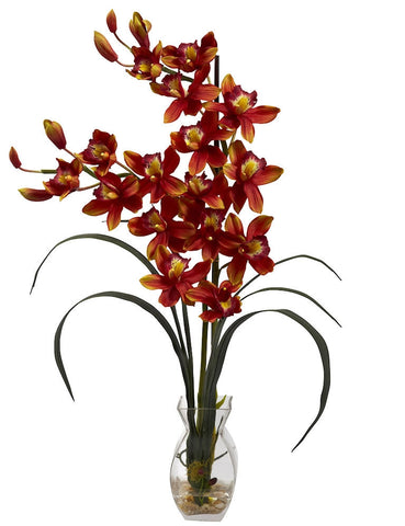 1293-BG Burgundy Silk Cymbidium Orchids in Water in 2 colors by Nearly Natural | 28""