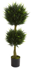 5392 Cypress Indoor Outdoor Silk Double Ball Topiary by Nearly Natural | 4'