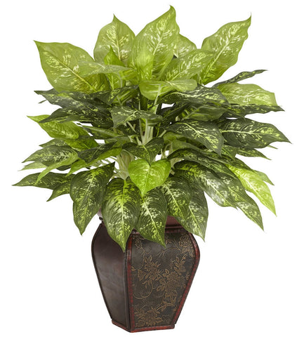 6676 Dieffenbachia Silk Plant w/Wood Planter by Nearly Natural | 23 inches