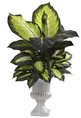 6776 Dieffenbachia Silk Plant with White Urn by Nearly Natural | 30 inches