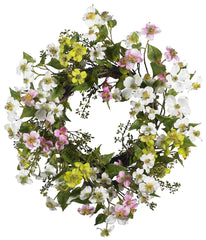4688 Dogwood Artificial Silk Wreath by Nearly Natural | 20 inches