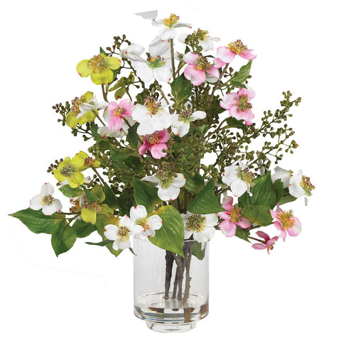 4687 Dogwood Silk Flowers in Water with Vase by Nearly Natural | 15 inches