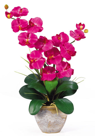 1026-BU Beauty Double Phalaenopsis Silk Orchid in 8 colors by Nearly Natural | 25""