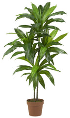 6585 Dracaena Artificial Silk Tree with Planter by Nearly Natural | 4 feet