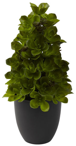 4964 Echeveria Silk Cone Topiary with Planter by Nearly Natural | 15 inches