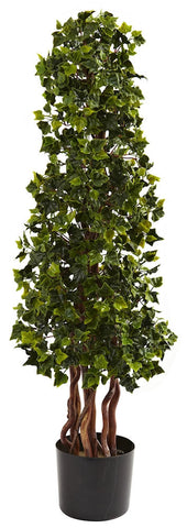 5396 English Ivy Indoor Outdoor Silk Cone Topiary by Nearly Natural | 3.5'