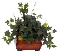 6683 English Ivy Silk Arrangement w/Chest by Nearly Natural | 15 inches