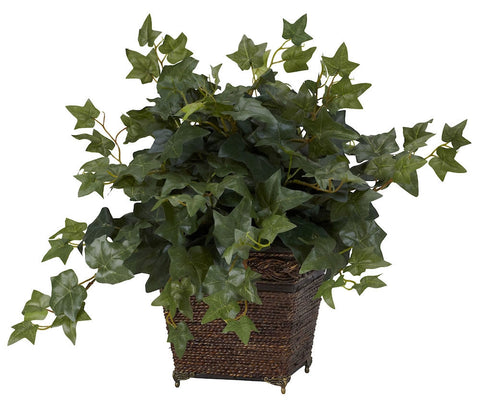 6705 English Ivy Silk Plant with Planter by Nearly Natural | 17 inches