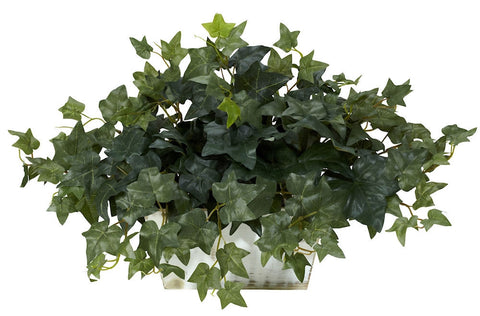 6715 English Ivy Silk Plant with Wood Planter by Nearly Natural | 14 inches