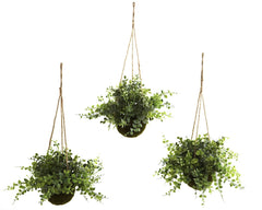 6741-S3 Eucalyptus Maidenhair Silk Hanging Baskets by Nearly Natural | 12""
