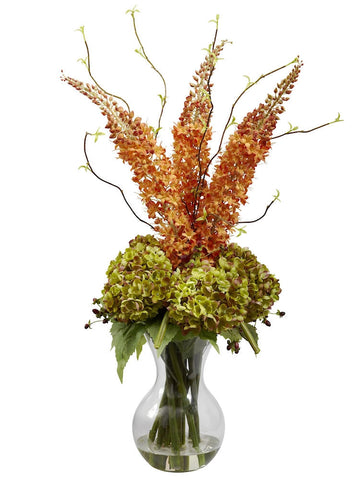 1302 Silk Foxtail & Hydrangea in Water w/Vase by Nearly Natural | 32 inches